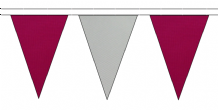 CLARET AND GREY TRIANGULAR BUNTING - 10m / 20m / 50m LENGTHS